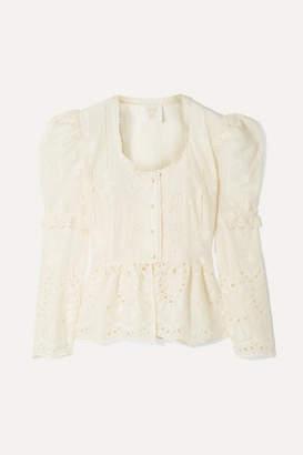 Anna Sui Wild Jasmine Broderie Anglaise Cotton Peplum Blouse - Ivory
