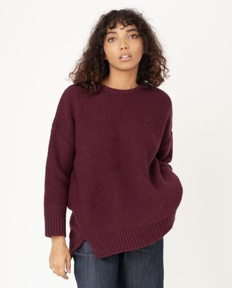 Beaumont Organic Faye Marie Wool Jumper In Bordeaux - Bordeaux / Extra Small