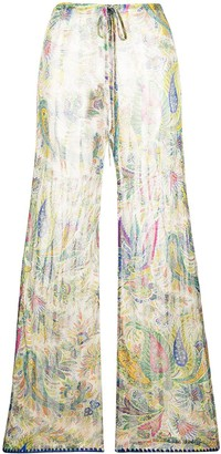 Etro Sheer Paisley Knit Trousers
