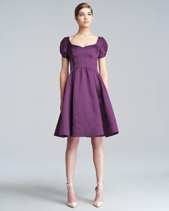 Zac Posen Flared Cloque Dress