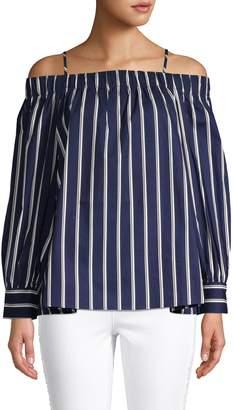 J.o.a. Striped Cold-Shoulder Cotton Top