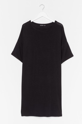 Nasty Gal Womens Drop Topic Plus Tee Dress - Black