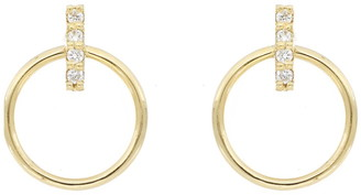 Bony Levy Keira 18K Yellow Gold Pave Diamond Petite Bar & Circle Stud Earrings - 0.04 ctw