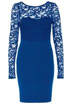 Quiz Blue Lace Plunge Back Bow Detail Midi Dress