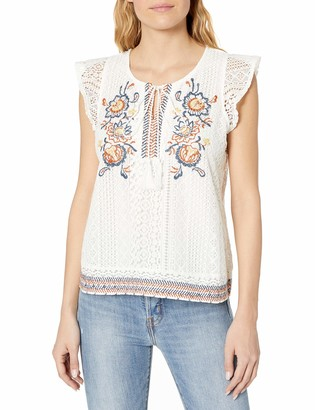 Blu Pepper Women's Cap Sleeve Lace and Embroidered Top