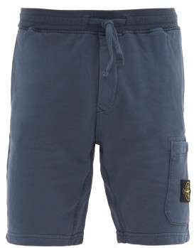 Stone Island Patch-pocket Cotton-jersey Track Shorts - Mens - Blue