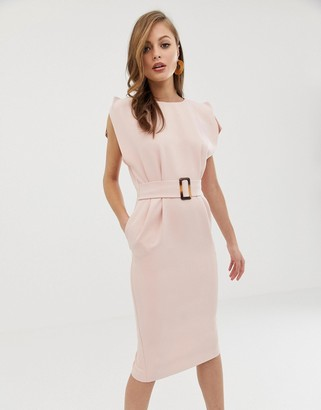 Asos Design DESIGN split cap sleeve midi pencil dress with buckle-Pink