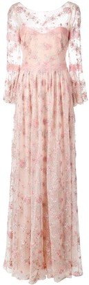 Marchesa Floral Embroidered Long Dress