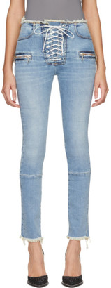Unravel Blue Lace-Up Skinny Jeans