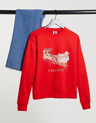 ASOS DESIGN Christmas sweatshirt with I believe print in red
