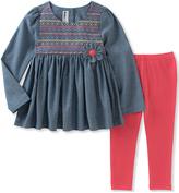 Kids Headquarters Blue Peplum Tunic & Pink Leggings - Infant, Toddler & Girls