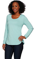 As Is Denim & Co. Essentials Scoop Neck Long Sleeve Top with Curved Hem