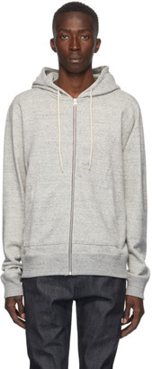 Naked and Famous Denim Grey Heavyweight Terry Zip Hoodie