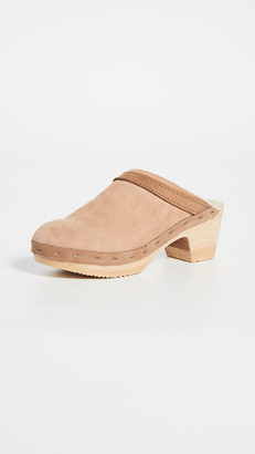 NO.6 STORE Dakota Shearling Mid Heel Clogs