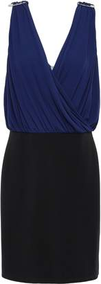 Versace Draped Two-tone Stretch-jersey Mini Dress