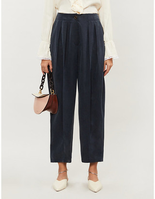 See by Chloe Pleated tapered high-rise woven trousers