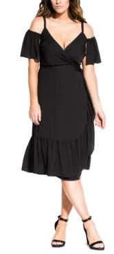 City Chic Trendy Plus Size Off-Shoulder Wrap Dress