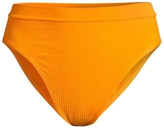 L-Space Pointelle Ribbed Frenchi High-Waist Bikini Bottom