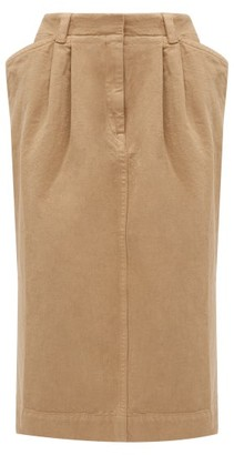 Lemaire Pleated-front Denim Skirt - Womens - Camel