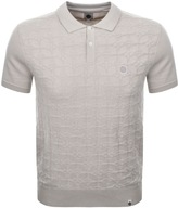 Pretty Green Knitted Crew Neck polo Jumper Beige