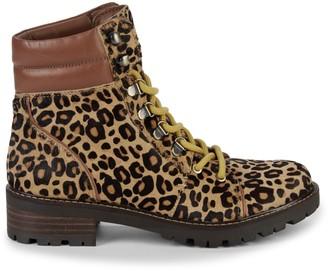 Sam Edelman Tamia Leopard Calf-Hair Combat Boots