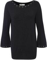 Andrea Jovine Black Grommet Boatneck Sweater - Plus Too