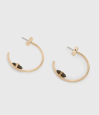 AllSaints Serena Gold Tone Semi-Precious Pyrite Hoop Earrings