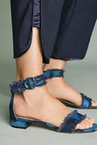 All Black On the Fringe Frayed Heeled Sandals