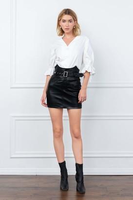 J.ING Motor Black Leather Skirt