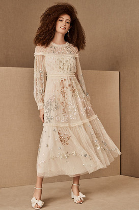 Needle & Thread Delphine Sequin Ballerina Dress By in Beige Size 0