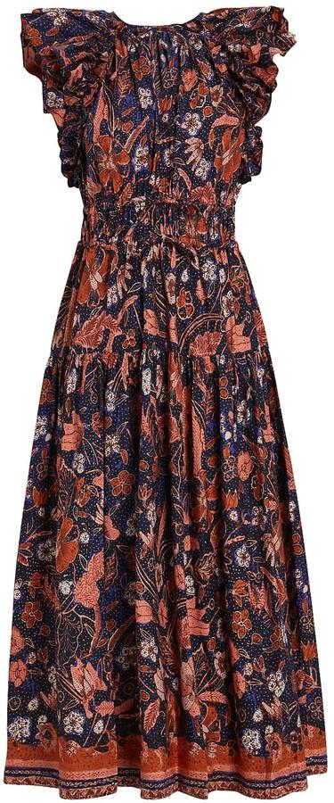 Ulla Johnson Arina Frilled Poplin Midi Dress