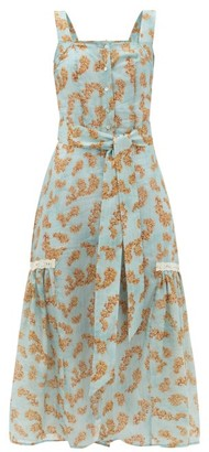 Galanthya - Camille Floral-print Cotton-muslin Midi Dress - Blue Print