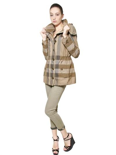 Burberry Checked Nylon Parka Jacket