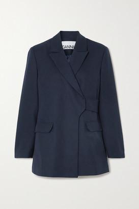 Ganni Belted Wrap-effect Wool-blend Blazer - Navy