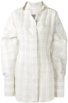 Jacquemus Checked Shirt Dress with Oversized Cuffs - women - Silk/Cotton/Linen/Flax/Polyester - 36