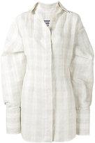 Jacquemus Checked Shirt Dress with Oversized Cuffs - women - Silk/Linen/Flax/Cotton/Polyester - 42