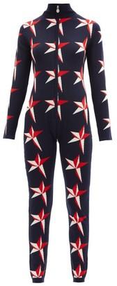 Perfect Moment Star-intarsia Merino-wool Jumpsuit - Navy Print
