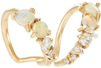 Sarah & Sebastian Chroma 10K gold diamond opal earrings