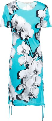 Roberto Cavalli Lace-up Floral-print Jersey Dress
