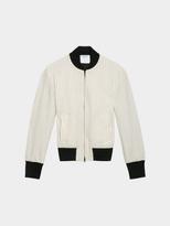 DKNY Wool Pinstripe Bomber Jacket