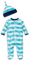 Offspring Boys' Dinosaur Print Footie & Hat Set - Baby