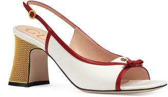 Gucci Alison Leather Metal-Heel Sandals with Bow