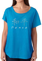 LOS ANGELES POP ART Los Angeles Pop Art Women's Loose Fit Dolman Cut Word Art Shirt - CHINESE PEACE SYMBOL