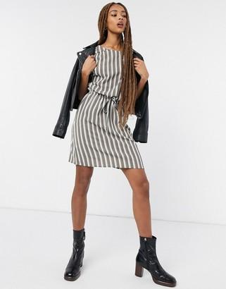 Vero Moda gathered waist dress in stripe