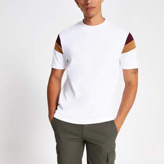 River Island White colour block slim fit T-shirt