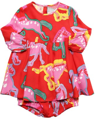 Stella Mccartney Kids Horse Print Muslin Dress & Diaper Cover