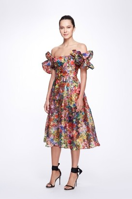 Marchesa Notte Off the Shoulder Flutter Sleeve Printed Organza Tea Dress