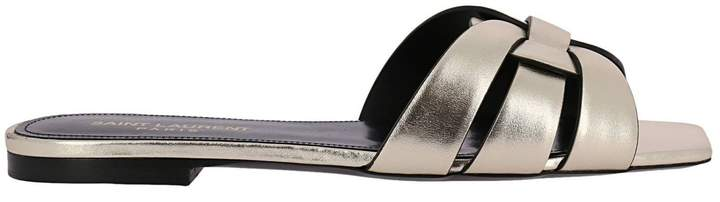 Saint Laurent Flat Sandals Tribute Slide Sandals In Laminated Leather With Crossed Straps