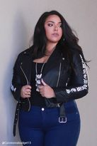 Forever 21 FOREVER 21+ Plus Size Graphic Moto Jacket