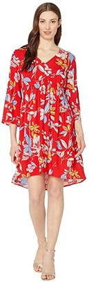 Tribal 3/4 Bell Sleeve Swing Dress (Strawberry) Women's Clothing
